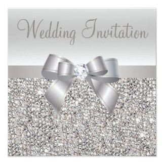 De zilveren Lovertjes, de Boog & de Diamanten 13,3x13,3 Vierkante Uitnodiging Kaart
