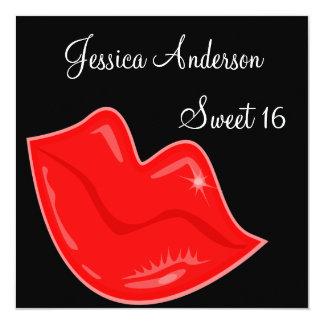 De zoete 16 Heldere Rode Lippen van de Verjaardag 13,3x13,3 Vierkante Uitnodiging Kaart