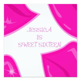 De zoete 16 Mooie Roze Lippen van de Verjaardag op 13,3x13,3 Vierkante Uitnodiging Kaart