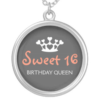 De zoete Koningin van Zestien Verjaardag - Roze en Zilver Vergulden Ketting