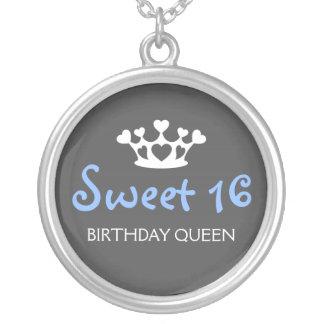De zoete Koningin van Zestien Verjaardag - Zachte  Ketting Rond Hangertje