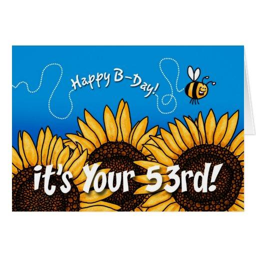 De zonnebloem van de bijensleep 53 jaar oud wenskaart zazzle - Kamerjongen jaar oud ...