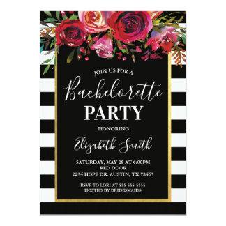 De zwarte BloemenUitnodiging BacheloretteParty van Kaart