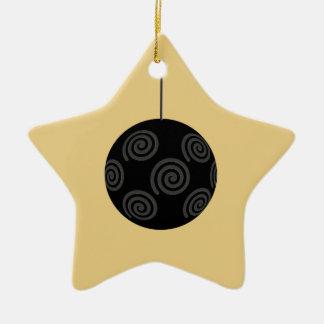De zwarte en Grijze Snuisterij van Kerstmis op Keramisch Ster Ornament