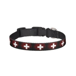 De zwarte Vlag van Grunge Zwitserland Huisdier Halsbandje