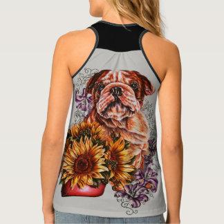 Débardeur Dessin de chemise de chien de tournesols et de lis
