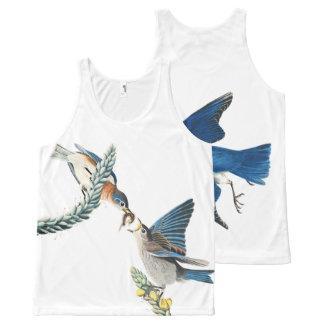Débardeur floral de faune d'oiseaux d'oiseau bleu