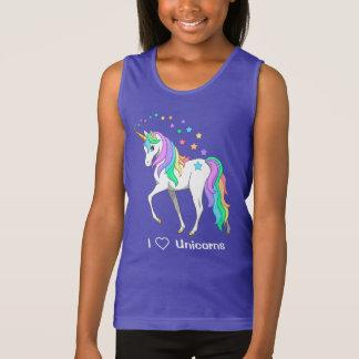 Débardeur Licorne et étoiles colorées d'arc-en-ciel