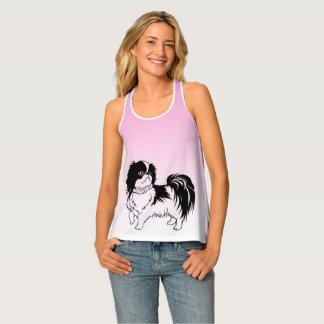 Débardeur noir et blanc mignon de rose de chien