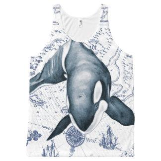 Débardeur Tout-imprimé Bleu de carte d'orque