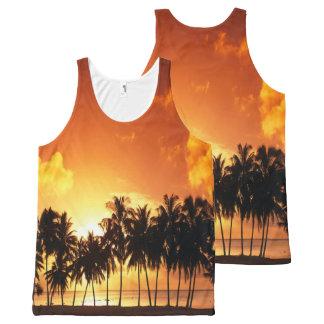 Débardeur Tout-imprimé Chemise de paume de coucher du soleil