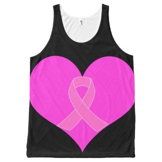 Débardeur Tout-imprimé Coeur et conception de charité de cancer du sein