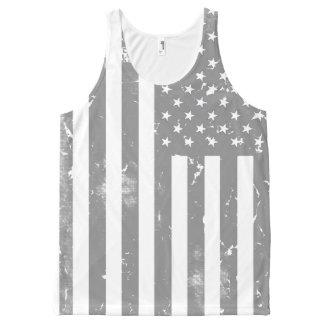 Débardeur Tout-imprimé Drapeau américain gris et blanc affligé