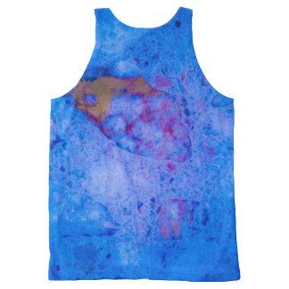 Débardeur Tout-imprimé Effet de marbre bleu