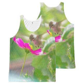 Débardeur Tout-imprimé Fleurs animales de faune d'oiseau de colibri
