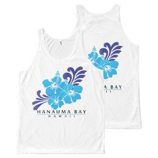 Débardeur Tout-imprimé Fleurs bleues de ketmie d'Hawaï