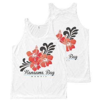 Débardeur Tout-imprimé Fleurs rouges de ketmie d'Hawaï