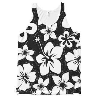 Débardeur Tout-imprimé Ketmie hawaïenne tropicale blanche noire de Luau