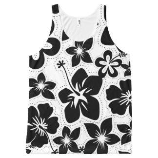 Débardeur Tout-imprimé Ketmie hawaïenne tropicale noire et blanche de