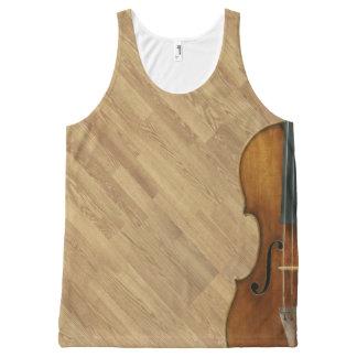 Débardeur Tout-imprimé Violon de Stradivari sur l'effet en bois de