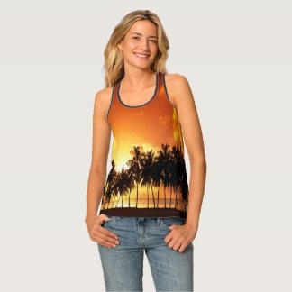 Débardeur tropical de coucher du soleil de palmier