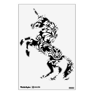 Décalque noir et blanc de mur de licorne de