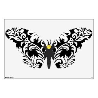 Décalque noir et blanc de mur de papillon de