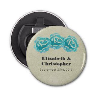 Décapsuleur 3 roses turquoises d'aquarelle sur mariage damassé