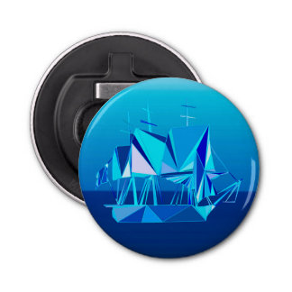 Décapsuleur Bateau de tondeuse géométrique moderne, bleu de