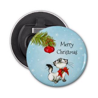 Décapsuleur Chat curieux de Kitty dans un arc rouge de Noël