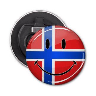 Décapsuleur Drapeau norvégien de sourire de rond brillant