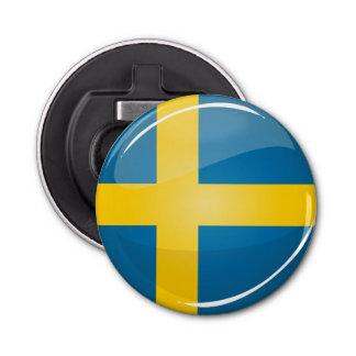 Décapsuleur Drapeau suédois rond brillant