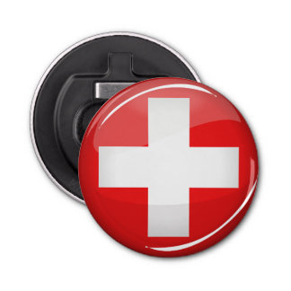 Décapsuleur Drapeau suisse rond brillant