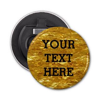 Décapsuleur Motif PUR de feuille d'or + votre texte