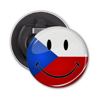 Décapsuleur Représentant tchèque de sourire de rond brillant.