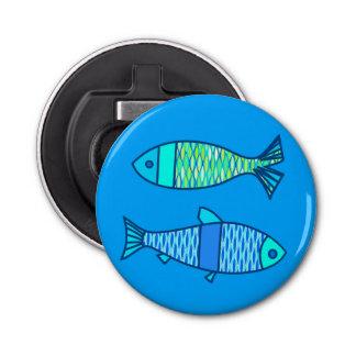 Décapsuleur Rétros poissons modernes, turquoise et bleu