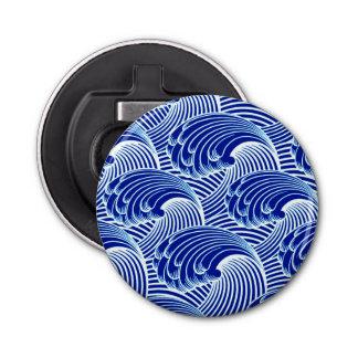 Décapsuleur Vagues japonaises vintages, bleu de cobalt et