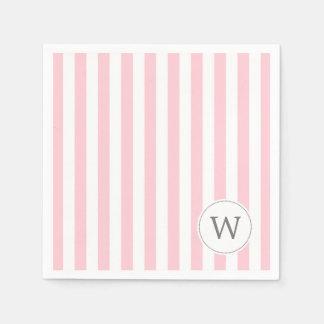Décor blanc rose de baby shower de monogramme de serviette en papier