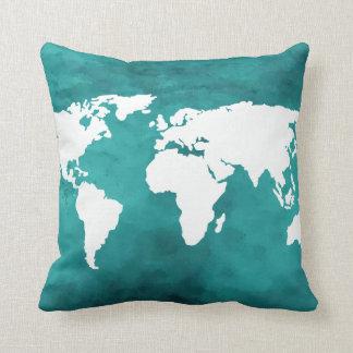 décor de carte du monde de turquoise coussin décoratif