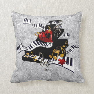 Décor de musique de coussin de conception de piano