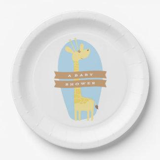 Décor de partie de baby shower de girafe assiettes en papier