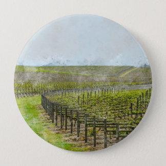 Décor de vin et de raisin badge rond 10 cm