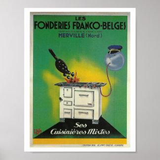 Décor français vintage de cuisine de fourneau de