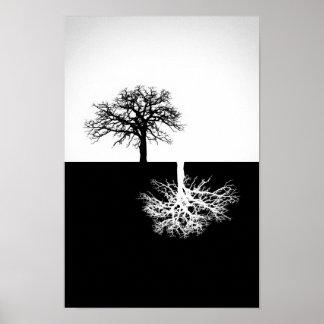 Décor noir et blanc de mur d'arbre