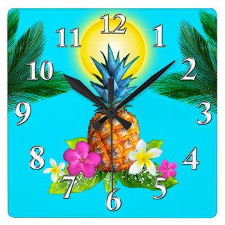 Décor orienté hawaïen, horloge renversante