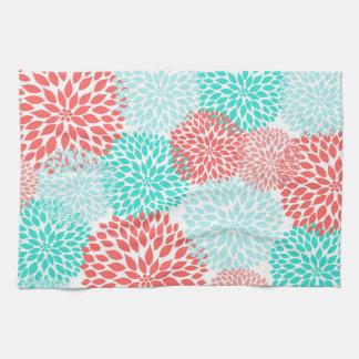 Décor turquoise de corail de cuisine de dahlias de serviette éponge