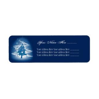 Décorations élégantes de Noël de fantaisie bleue Étiquettes D'adresse Retour