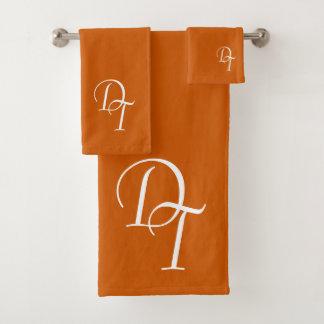 Décoré d'un monogramme - orange brûlée