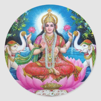 Déesse de Lakshmi de l'amour, de la prospérité, et Sticker Rond