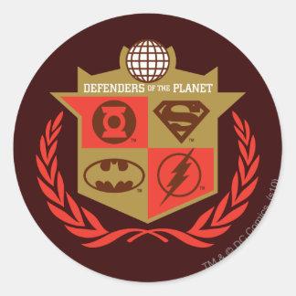 Défenseurs de ligue de justice de la planète sticker rond